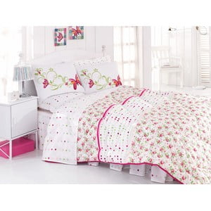 Narzuta, poszewki na poduszkę i ozdobna falbana wokół łóżka Nadya Pink, 195x215 cm