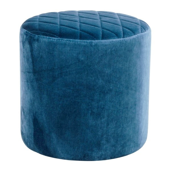 Niebieski puf z aksamitu House Nordic Ejby