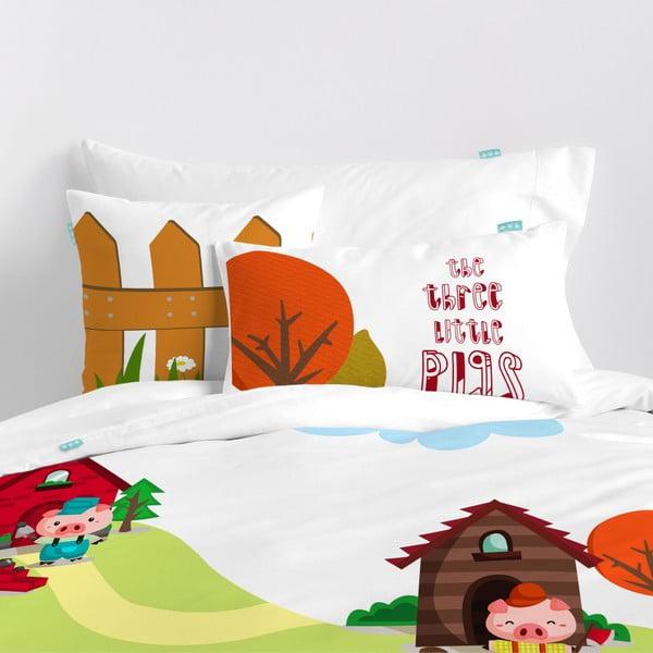 Dwustronna poszewka bawełniana na poduszkę Mr. Fox Little Pigs, 50x30 cm