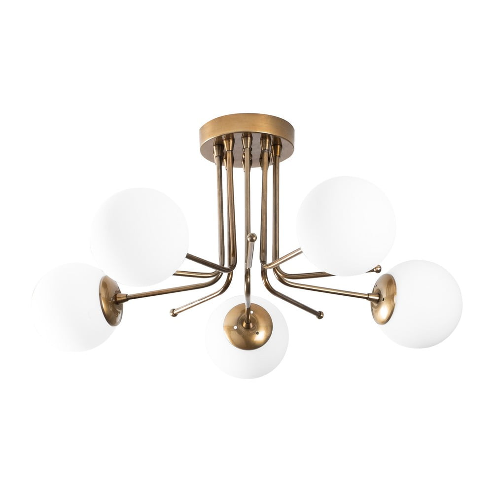 Biała lampa sufitowa w kolorze złota Opviq lights Daisy