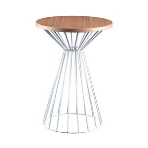 Biały stolik z blatem w dekorze drewna dębowego sømcasa Niko
