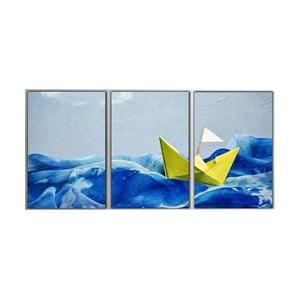 Trzyczęściowy obraz Paper Boat, 45x90 cm