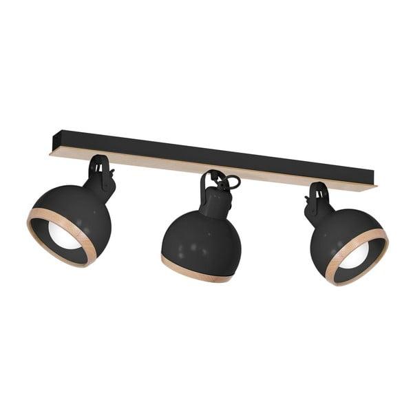 Czarna lampa sufitowa z drewnianymi detalami Oval Tres