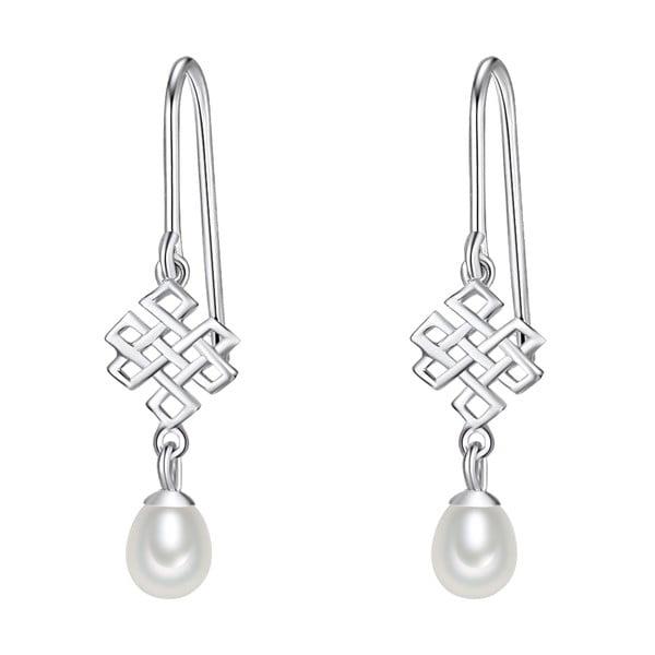 Srebrne   kolczyki z białą perłą Chakra Pearls Done