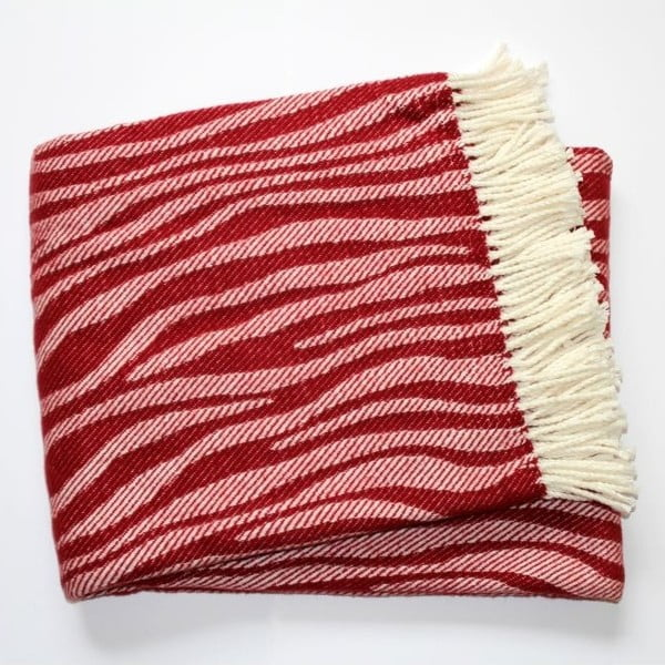 Koc Zebra Bordeaux Red, 140x180 cm