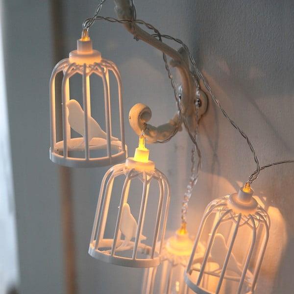 Biała girlanda świetlna LED Best Season Bird Cages, 6 slampek