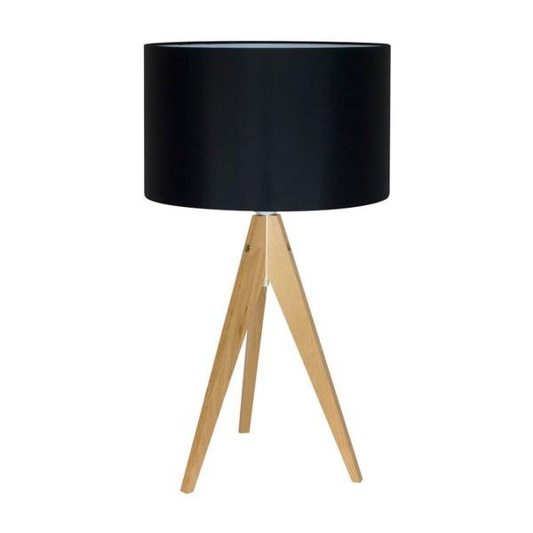 Czarna lampa stołowa 4room Artist, brzoza, Ø 33 cm