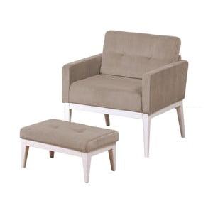 Fotel z podnóżkiem Preston Taupe