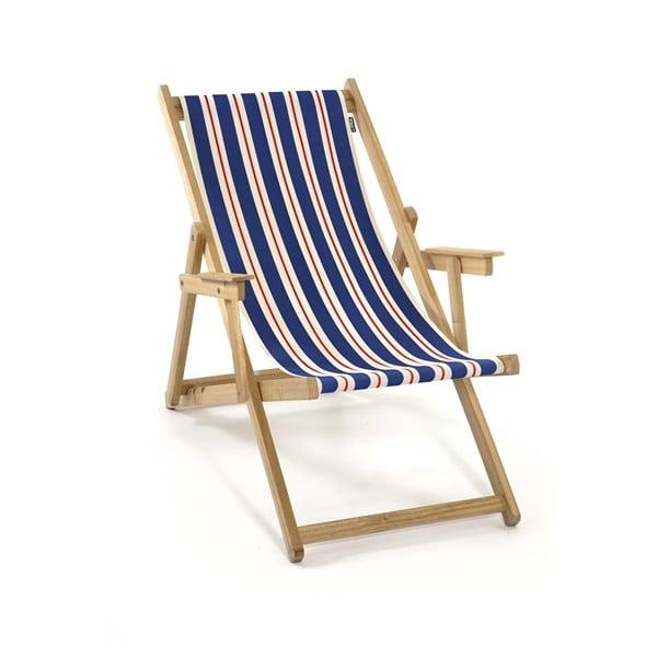 Leżak składany Beach, niebiesko-pomarańczowe paski