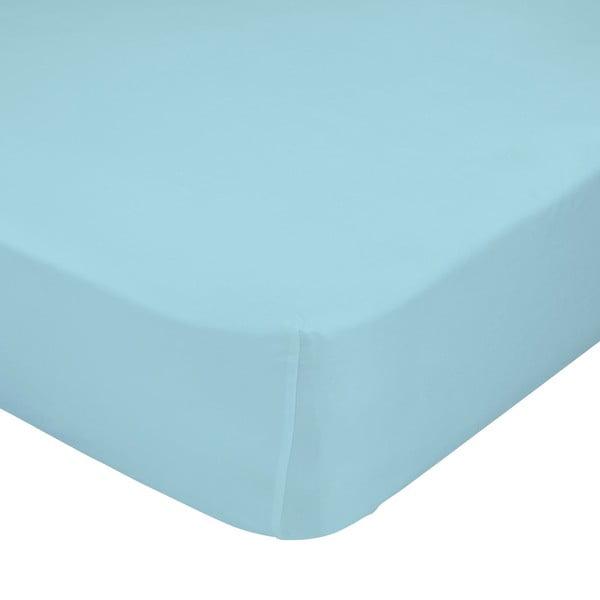 Jasnoniebieskie elastyczne prześcieradło HF Living Basic, 90x200 cm