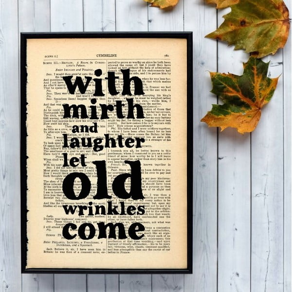 Plakat w drewnianej ramie Shakespeare Mirth and Laughter