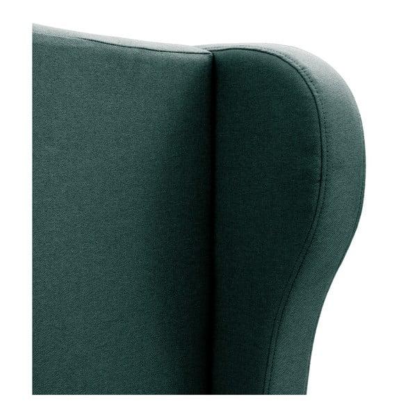 Ciemnoturkusowe łóżko z naturalnymi nóżkami Vivonita Windsor, 180x200 cm