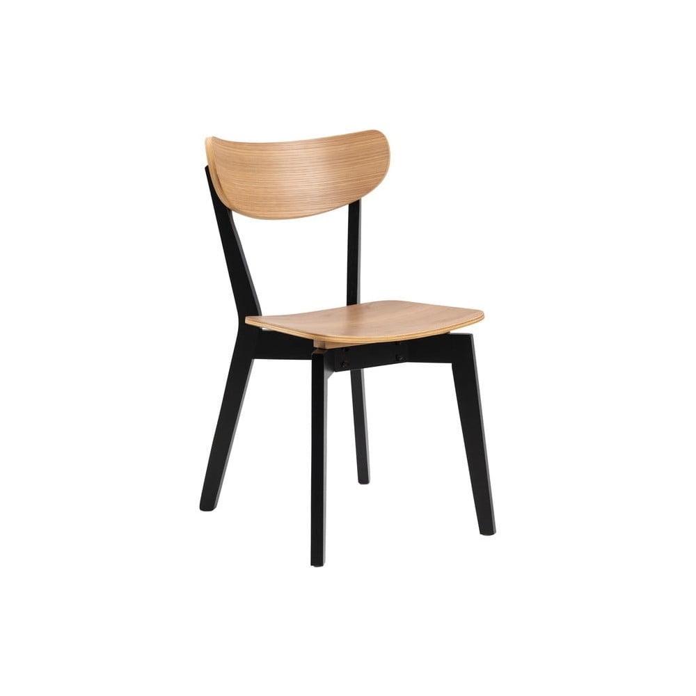 Czarne krzesło z elementami w dekorze dębu Actona Roxby