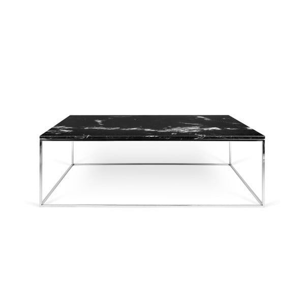 Czarny stolik marmurowy z chromowanymi nogami TemaHome Gleam, 120 cm