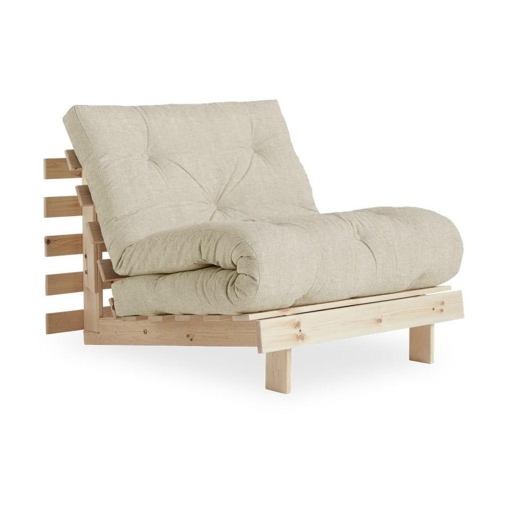 Fotel rozkładany z beżowym lnianym pokryciem Karup Design Roots Raw/Linen