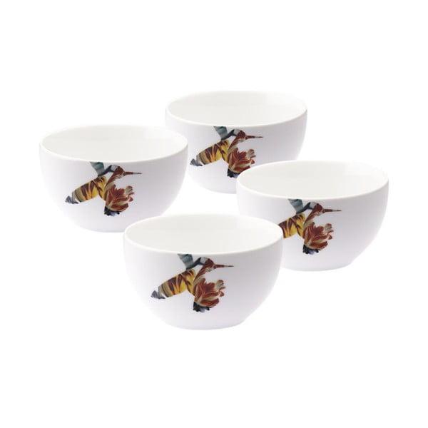 Zestaw 4 porcelanowych misek Flutter, 12 cm