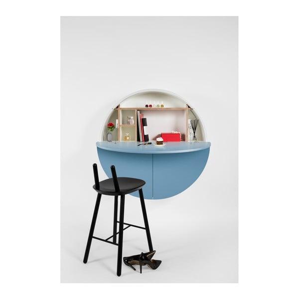 Biało-niebieskie   wielofunkcyjne biurko ścienne Emko Pill