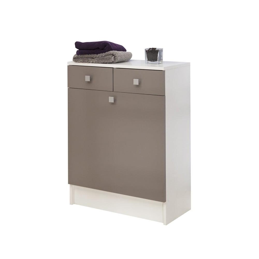 Szaro-brązowa szafka łazienkowa z koszem na pranie TemaHome Combi, szer.60cm