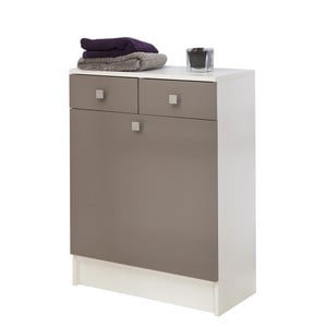 Szaro-brązowa szafka łazienkowa z koszem na pranie Symbiosis André, szer.60cm