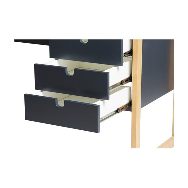 Antracytowe biurko Marckeric Square, 140x75 cm