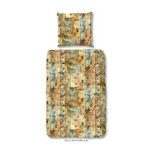 Pościel jednoosobowa z satyny bawełnianej Good Morning Premento Postcard, 140x200 cm