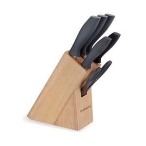 Komplet 5 szarych noży i stojaka Sabichi