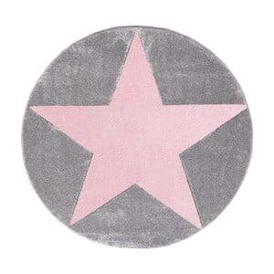 Różowo-szary dywan dziecięcy Happy Rugs Round, Ø 133 cm