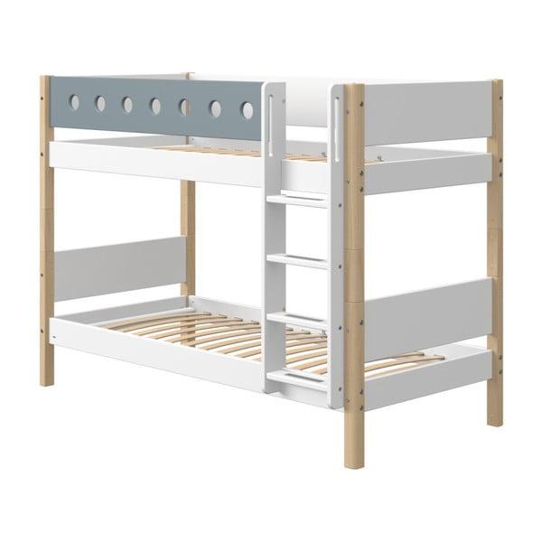 Niebiesko-białe dziecięce łóżko piętrowe z nogami z drewna brzozowego Flexa White, wys. 154 cm
