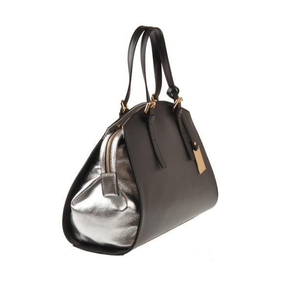 Skórzana torebka Emilio Masi Aston, srebrno-czarna
