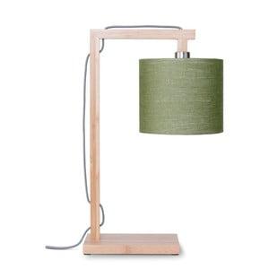 Lampa stołowa z zielonym kloszem i konstrukcją z bambusa Good&Mojo Himalaya