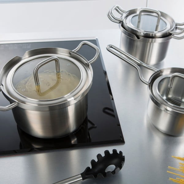 Garnek ze stali nierdzewnej BK Cookware Q-linair Master Glass, 18cm