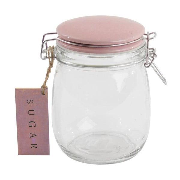 Szklany pojemnik z różową pokrywką Sugar, 750 ml