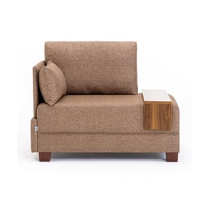 Brązowy fotel z podłokietnikiem po lewej stronie i blatem Balcab Home Martha