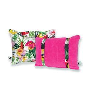 Różowa dwustronna poduszka plażowa Origama Tropic