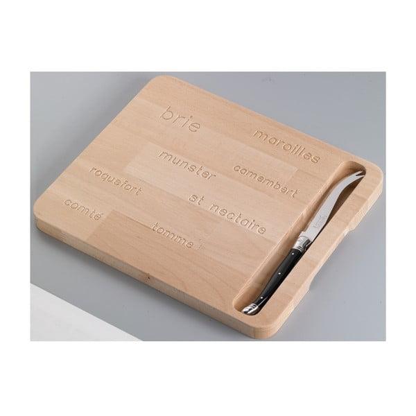Drewniana deska z nożem do serów Jean Dubost Natural
