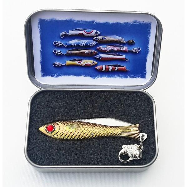 Scyzoryk rybka, świąteczny z żółto-zielonym okiem, w blaszanym pudełku