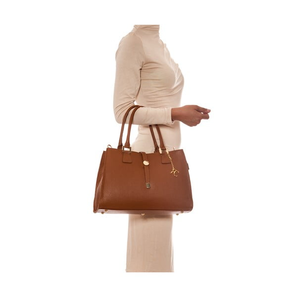 Skórzana torebka Elegant 1078 Cognac