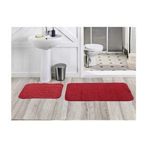 Zestaw 2 dywaników łazienkowych Milas Kirmizi, 50x60 cm + 60x100 cm