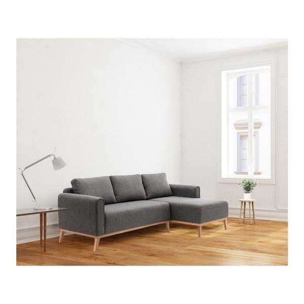 Antracytowa prawostronna sofa narożna Vivonita Milton