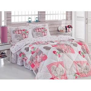 Narzuta, poszewki na poduszkę i ozdobna falbana wokół łóżka Angel Pink, 195x215 cm