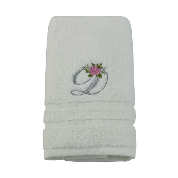 Ręcznik z inicjałem i różyczką D, 50x90 cm