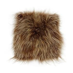 Brązowa poduszka futrzana do siedzenia z długim włosiem Eglé, 37x37 cm