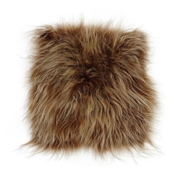 Brązowa poduszka futrzana do siedzenia z długim włosiem, 37x37 cm