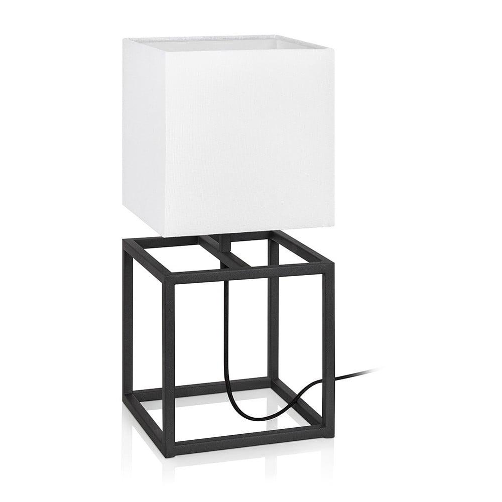 Czarno-biała lampa stołowa Markslöjd Cube, 20x20 cm