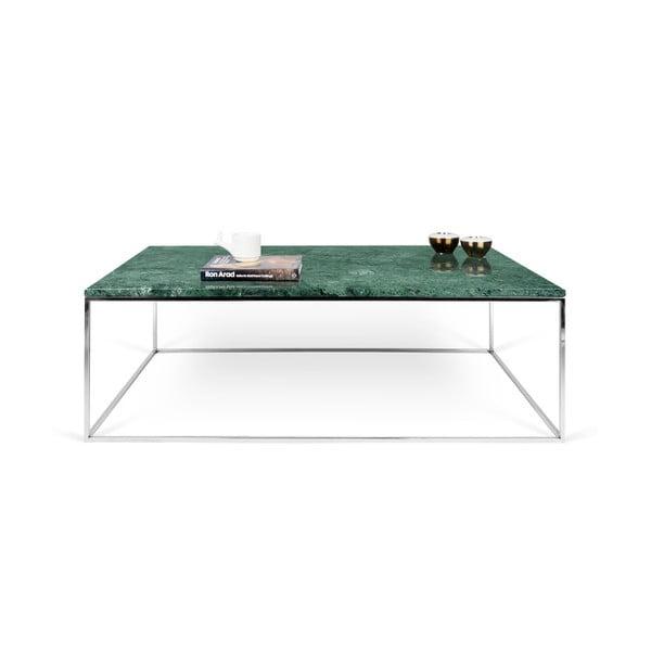 Zielony stolik marmurowy z chromowanymi nogami TemaHome Gleam, 120 cm