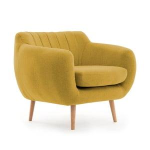 Żółty fotel z naturalnymi nogami Vivonita Kennet