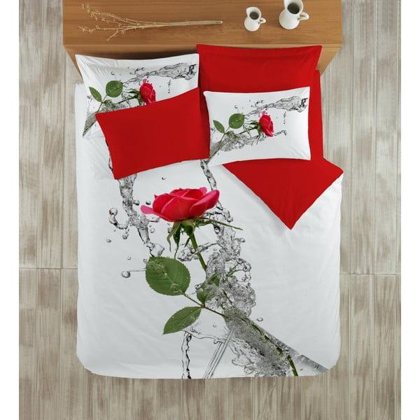 Komplet pościeli z prześcieradłem Red Rose, 200x220 cm