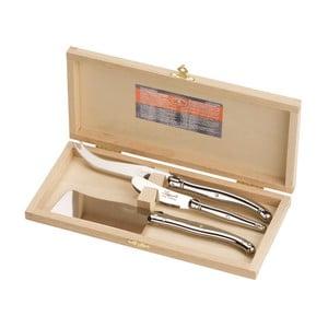 Zestaw 3 noży do serów ze stali nierdzewnej w drewnianym opakowaniu Jean Dubost