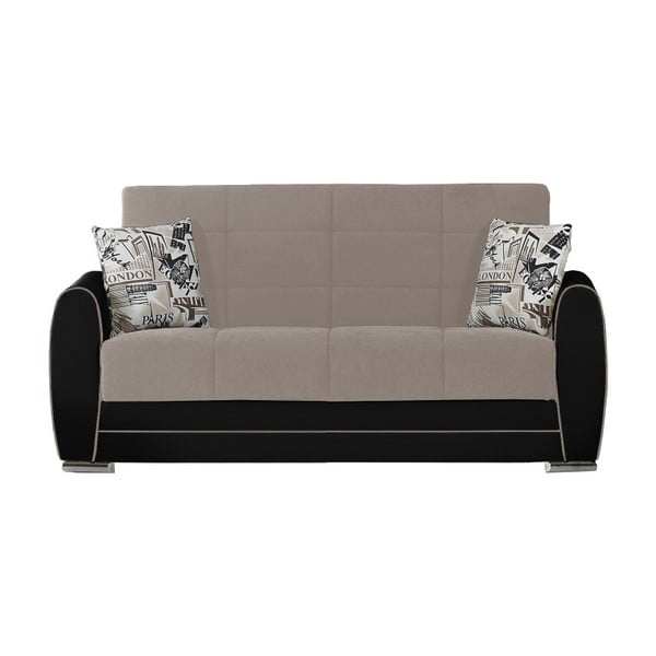Szaro-czarna dwuosobowa sofa rozkładana ze schowkiem Esidra Rest