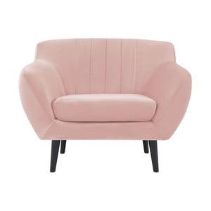 Jasnoróżowy fotel z czarnymi nogami Mazzini Sofas Toscane